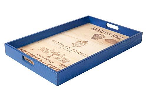 Formitable Serviertablett/Dekotablett rechteckig, Kiefer Massivholz, 3 Weinmotive, rutschhemmend, B/H/T 50 x 32 x 5 cm, UPCYCLING (königsblau)