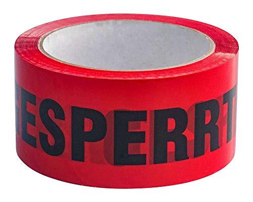 1-PACK Packband Klebeband BOPP low noise 50mmx66m, rot mit Aufdruck GESPERRT