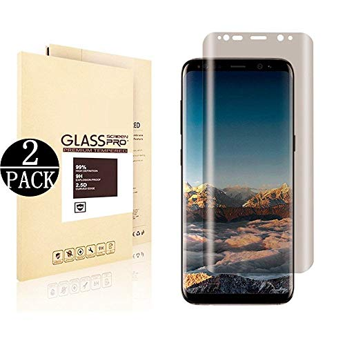 Mighty Compatible [2 - Pack] Galaxy S8 Plus Tempered Glass Screen Protector,[9H Hardness][Anti-Scratch] [Anti-Fingerprint][3D Curved] Screen Protector Compatible Samsung Galaxy S8 Plus(Privacy)