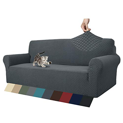 Fundas de sofá jacquard para sofá de 3 cojines, muy elásticas y antideslizantes, aptas para mascotas, 1 pieza elástica para sofá...