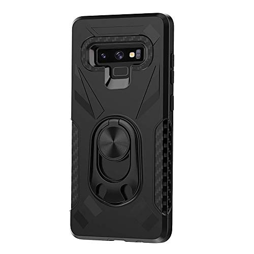 Lantier Multifunction Armor Case with 360 Metal Ring Holder Kickstand Bottle Opener Fits Magnetic Car Mount Shock Absorbing Protective Case for Samsung Galaxy Note 9 Black