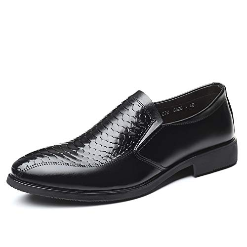 Lfsp Black Classic Oxford Schuhe Moderne Wide Flat Freizeit Geschäft Oxfords for Männer Brautkleid Schuhe Slip-on-elastischen Band-echten Leder-Textur Spitzschuh Solid Color