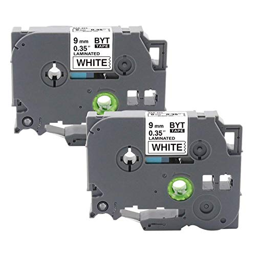 TZe221 Tape PTH110 Tape TZe 221 9mm 0.35 Inch Laminated White for Label Maker Tape Compatible for Brother P-Touch PT-D200 PT-D210 PT-H100 PT-D400 PT-1290 PT-1750, 26.2 Feet 8 Meter,2-Pack