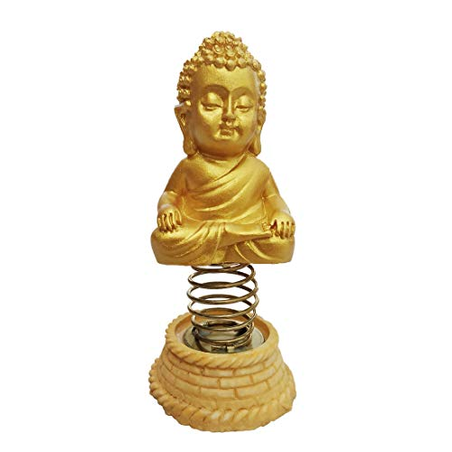 Shoppersduniya Meditating Golden Little Buddha Monk for Car Dashboard Statue Showpiece Item Figurines Idol Peace