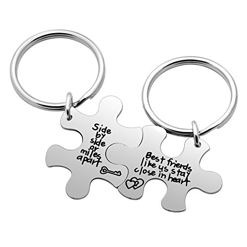 2pcs Best Friend Keychain Set Best Friend Gifts Side by Side or Miles Apart...