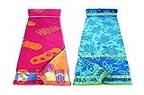Restmor Serviettes de Plage 100% Coton Jumbo 85x165cm - Lot de 2 Elle et Lui – Tortoises & Flip-Flop