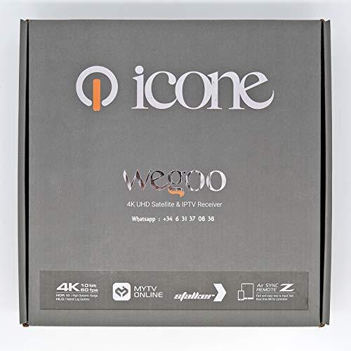 ICONE WEGOO Receptor 4K UHD Satellite e IPTV – Servidor Orca & GoGo IPTV incluido