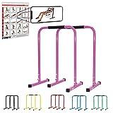 POWRX Dip Barren (Paar) inkl. Workout | Push Up Stand Bar | Dip Station | Fitness Rack | Core Trainer (Pink, 90 x 65 cm)