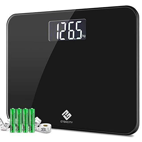 Etekcity Báscula de Baño Digital 200 kg / 440 lbs, 350 x 300 x 23mm Extra Gran Plataforma, con Gran Pantalla (100 x 50mm) Retroiluminada, Auto Apagado, Baterías y Cinta Métrica Incluidas, 4410B