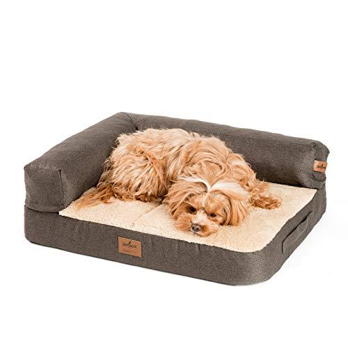 JAMAXX Premium 2-in-1 Hunde-Sofa - Orthopädisch Memory Visco, Abnehmbare Polster, Oeko-TEX Abnehmbarer Bezug Waschbar, Weiches Fleece oder Lammfell/Sherpa, PDB3014 (S) 65x50 braun+Sand Fleece