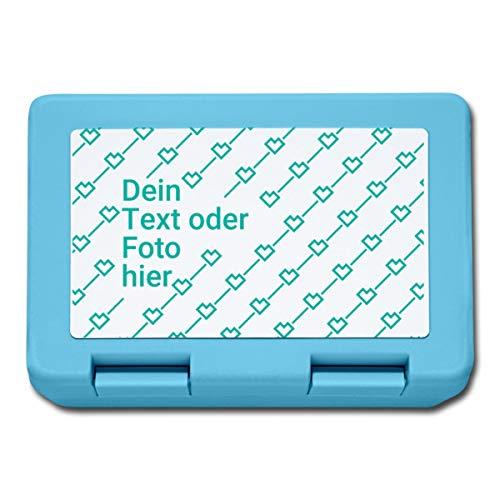 Personalisierbare Brotdose Selbst Gestalten mit Foto und Text Wunschmotiv Lunchbox, Saphirblau