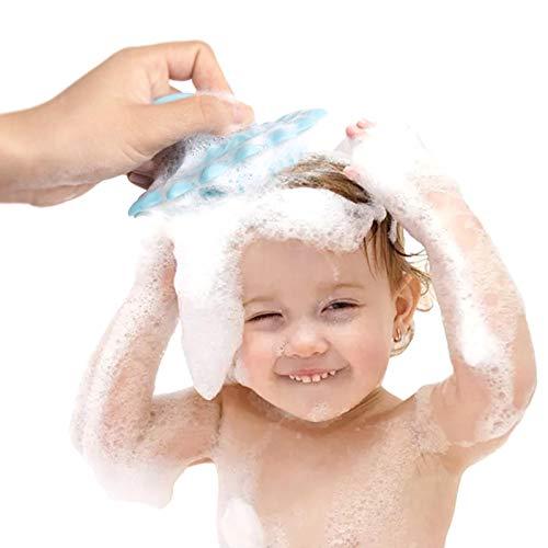 Cepillo de silicona para baño de bebé, esponja depuradora de silicona para baño de bebé ultra suave, cepillo de champú para bebé, masajeador de cuero cabelludo, cuero cabelludo de silicona Maxsoft