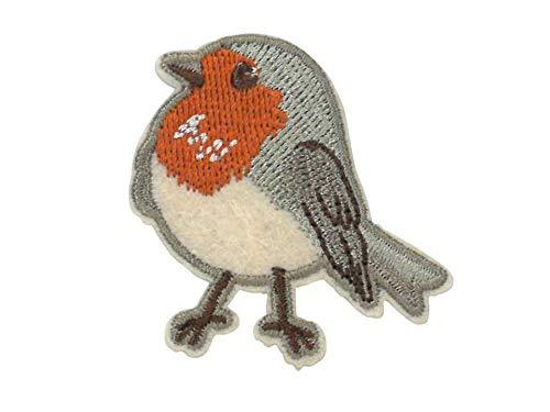 Kleiber Bügelbild Patch Applikation zum Aufbügeln Vogel grau orange 4,0 x 4,5 cm