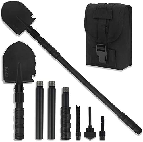 iunio Survival Shovel Folding, Portable, Camping Multitool, Foldable Entrenching Tool, Collapsible Spade, for Backpacking, Trenching, Hiking, Offroading, Car Emergency