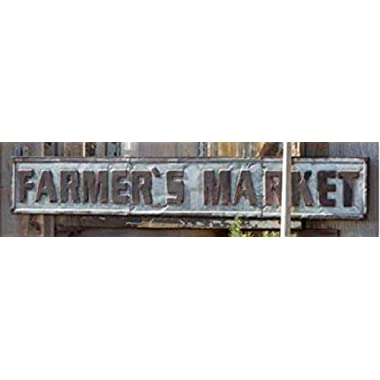 Galvanized Metal Farmers Market Sign with Embossed Letters for Rustic Home Decor