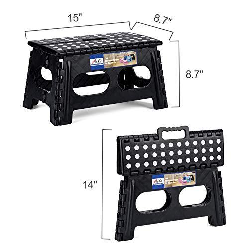 ACSTEP Folding Step Stool,15-Inch Extra Wide Heavy Duty Stepping Stool More Safe and Comfortable Non Slip Foldable Step Stool for Kids and Audults.Black