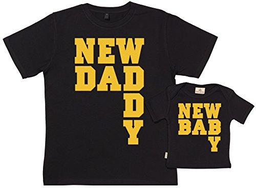 Spoilt Rotten SR - Exklusive Geschenkbox - New Daddy & New Baby 100% Biobaumwolle - Vater T-Shirt & Baby T-Shirt in Geschenkbox - S, 0-6 Monate - Schwarz
