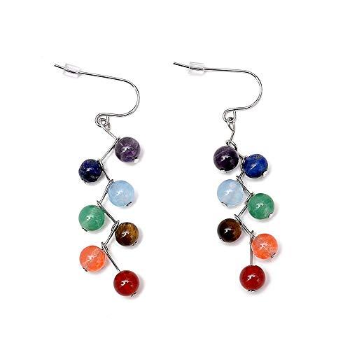 FASHLOVE Pendientes de perlas de piedra natural multicolor, diámetro de la perla 0,6 cm y 5 cm, adecuados como regalo de cumpleaños para amigos, parientes, miel, compañeros de clase.
