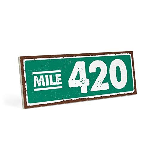 ARTFAVES Holzschild mit Spruch - Mile 420 - Vintage Shabby Deko-Wandbild/Türschild