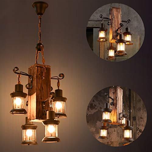 Lámpara en suspensión industrial vintage Lámpara colgante rústica de madera Metal y...