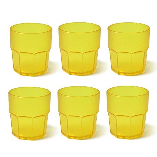 Cartaffini T280GIX6 Bicchieri, Policarbonato, Giallo, 6 unità