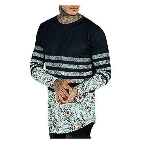 Xmiral Maglietta a Maniche Lunghe da Uomo T-Shirt Top Camicetta Uomo Autunno Slim Casual O Collo Stampato Manica Lunga (L,2nero)