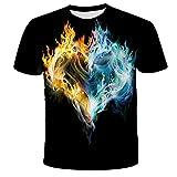 Camisetas Manga Corta Hombre Summer Flame 3D Camisa De Impresión Digital Hombres Y Mujeres Casual Cuello Redondo Manga Corta Top-S