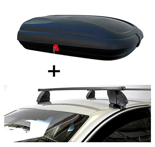 Dachbox VDPBA320 320 Liter carbonlook abschließbar + Dachträger K1 MEDIUM kompatibel mit Nissan Qashqai (J11) (5Türer) ab 14