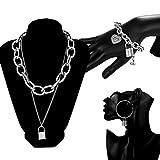 Retro Multicapa Colgante Collares en Forma de Bloqueo Aleación Vintage Pulsera Pendientes Joyeria Set para Regalo de Dia de la Madre Mujeres,Silver