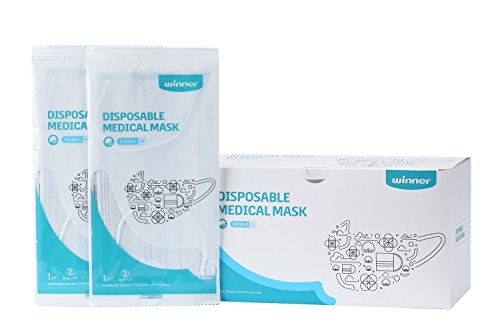 Disposable Ear Loops Face Masks, Dental Surgical Breathability Comfort, Sterilized, Individually Packaged, 50 Count