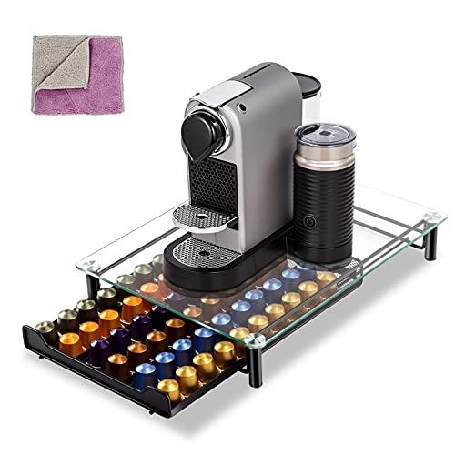 Masthome Nespresso Kaffee-Kapselhalter zur Aufbewahrung von 60 Kapseln in einem Stapelständer - Anti-Vibration mit Glass Oberfläche - Ständer mit netzförmigen Fächern
