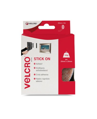 VELCRO Brand White Stick On Tape Roll, 20mm x 5m