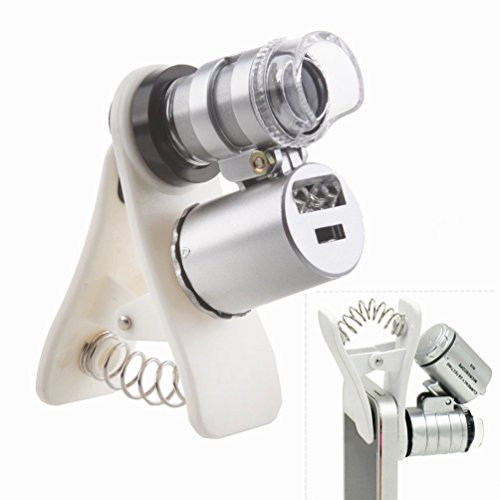 TOCHIC Mini 60X Microscope LED Magnifier Lens for iphone8 / 7 / 7plus / 6 / ipad/Sumsung / S8 Plus / S7