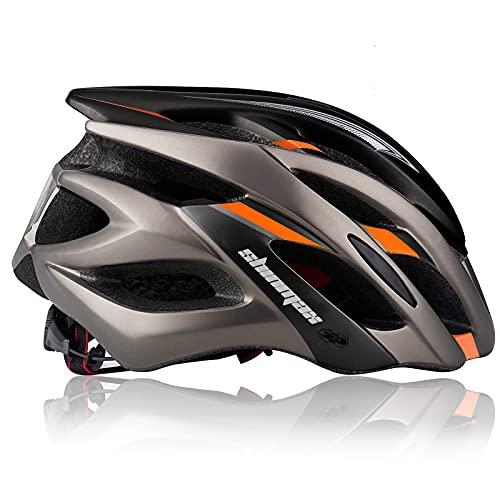 Shinmax Casco Bici,Casco Bici Uomo Donna Casco Bici MTB con Luce di LED,Casco Bici Adulti con Visiera Casco Bicicletta per Ciclismo Mountain,Skateboarding,Snowboard Casco Bici Superleggero 57-62CM