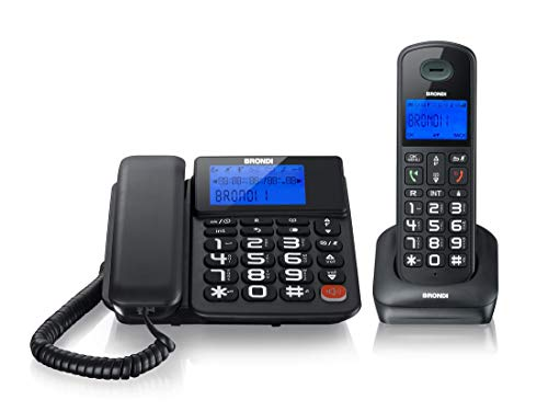 Brondi Bravo Style Combo Copia Telefono Cordless e Fisso, Nero
