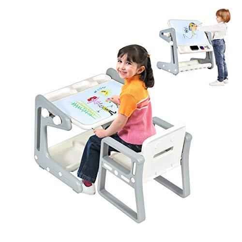 COSTWAY 2 in 1 Magnetische Maltafel und Zeichentisch mit Hocker, Kinderschreibtisch mit höhen- und neigungsverstellbarer Tischplatte, Kindersitzgruppe mit Stauraum für Kinder von 3-12 Jahren