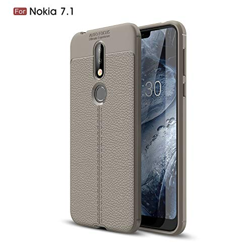 CruzerLite Nokia 7.1 Custodia, Flexible Slim Case with Leather Texture Grip Pattern And Shock Absorption TPU Cover for Nokia 7.1 (2018) (Gray)