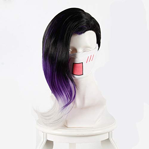 Hot Sale Overwatch Sombra Cosplay Wig 45cm Curly Synthetic Hair Black Gradient Purple White High Quality Game Costume Party Wig