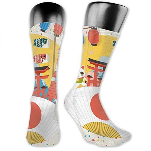 Soft Mid Calf Length Socks,Japanese Inspired Commercial Pattern Various Asian Culture Items Cool Cat Origami,Women Men Socks Cotton Casual Funny Cute