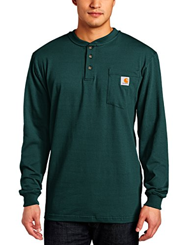 Carhartt Men's Workwear Pocket Henley Shirt (Regular and Big & Tall Sizes), Hunter Green, Small