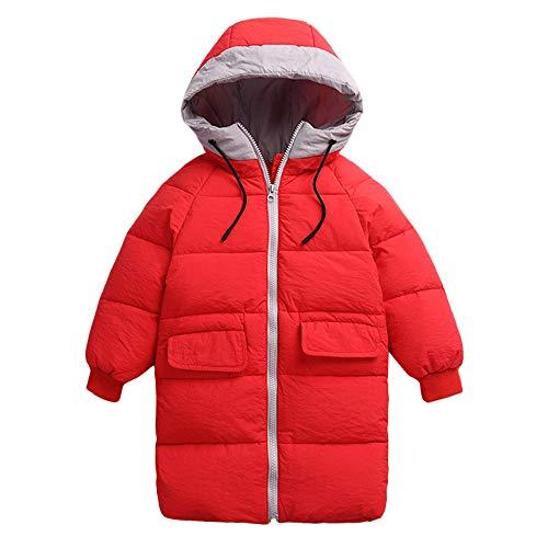 Kobay Kobay Kinder Mädchen Jungen Baby Winter Mäntel Verdickt Kapuzen Kordelzug Colorblock Pocket Baumwolle Jacke(7-8T,Rot)