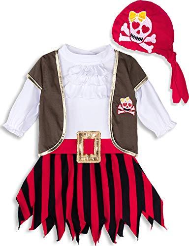 MOMBEBE COSLAND Disfraz Pirata Bebé Niñas (18-24 Meses, Rojo)