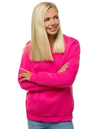 OZONEE Damen Sweatshirt Pullover Langarm Farbvarianten Langarmshirt Pulli ohne Kapuze Baumwolle Baumwollemischung Classic Basic Rundhals-Ausschnitt Sport 777/9099B DUNKELROSA XL
