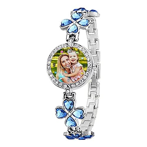 Reloj Personalizado con Foto Reloj Personalizado con Imagen Reloj De Mujer Reloj Plateado Azul Verde Púrpura Reloj Impermeable Reloj De Aleación Cumpleaños Aniversario Mejor Regalo