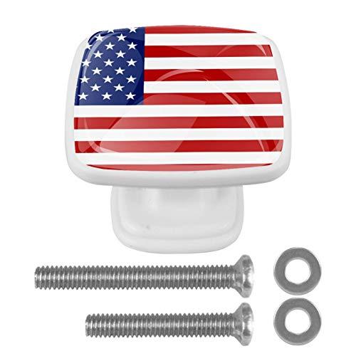 Juego de 4 pomos cuadrados para cajón, tiradores de cajón, pomos de armario, tiradores de puerta con tornillos para armarios y muebles de armario, bandera de Estados Unidos