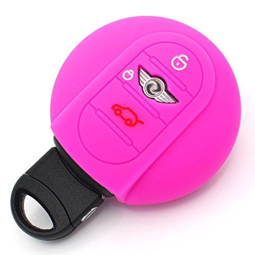 Finest-Folia MIB - Funda de silicona para llave de coche con 3 botones, color rosa neón