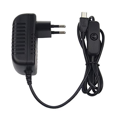 Greatangle 5V 3A Cargador de Fuente de alimentación Adaptador de CA Cable Micro USB con Interruptor de Encendido/Apagado para Raspberry Pi 3 pi Pro Modelo B B + Plus Negro