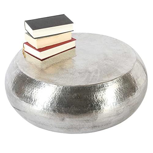 Casa Moro Ts-V4000 - Tavolino da salotto orientale Zumar, Ø 75 cm, altezza 28 cm, con battuta a martello, in alluminio martellato, colore: Argento