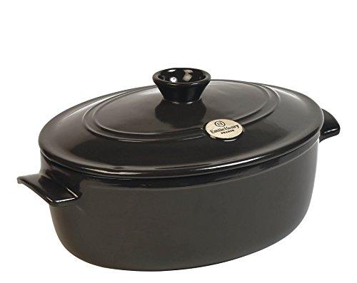 Emile Henry Eh794560 Cocotte Ovale Céramique Noir Fusain 33,5 X 26,5 X 18,5 cm