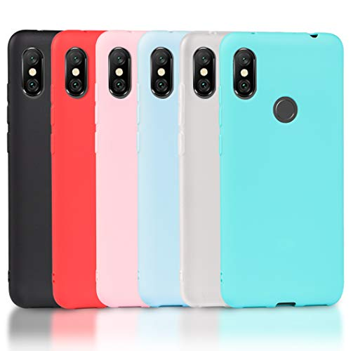 Wanxideng - 6X Coque Xiaomi Redmi Note 6 Pro, Housse Souple en TPU Silicone, Soft Silicone Case Cover [ Noir + Blanc Translucide + Rouge + Rose + Menthe Verte + Bleu Clair ]
